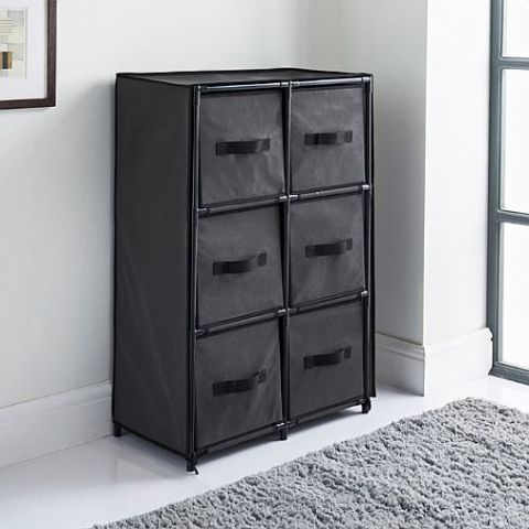 Black Covered 6 Drawer Storage Chest